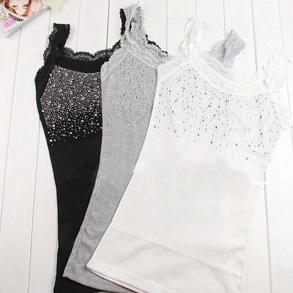 Cortar Top da forma das mulheres de alças Mulheres Sexy Rhinestone Impressionante Regatas T Camisetas Branco Cinza Cami shirt Magro 20