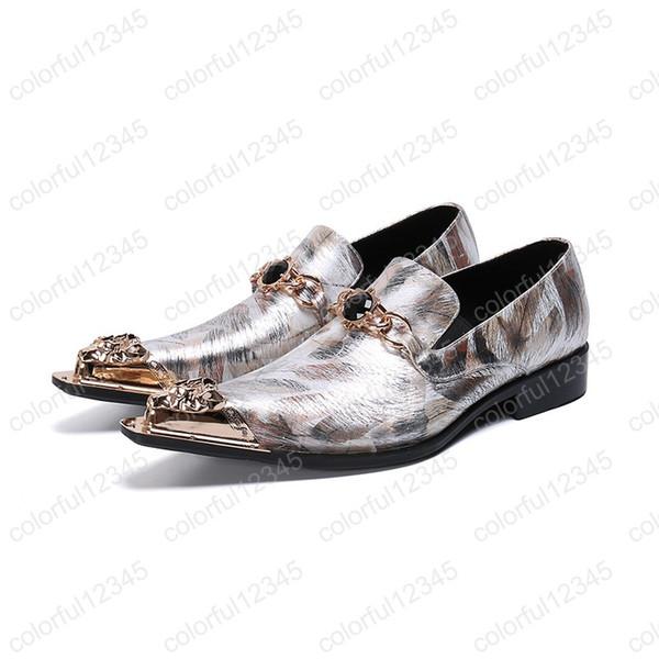 Zapatos de hombre hechos a mano occidentales Zapatos de vestir de punta puntiaguda dorada Hombres Slip on Zapatos de negocios formales Fiesta US6-12