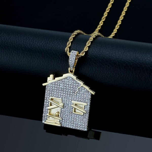 House Pendant Zircon-inlaid Hip-hop Necklace Fashion Accessories Charming Euro-American Style