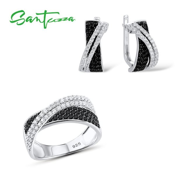 Santuzza Jewelry Set For Women Luxury Natural Black White Cz Stones Ring Earrings Set Authentic 925 Sterling Silver Jewelry Set J 190513
