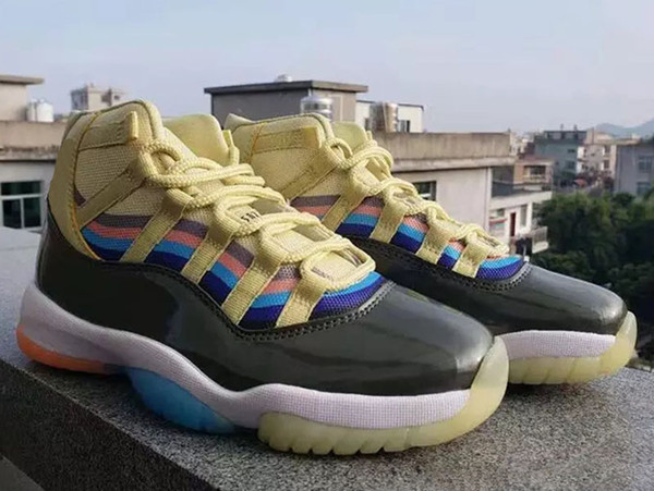 2018 New arrival 11 11s new color matching 3D colorful men's Retro basketball shoes New colors is seven colors nice looking men's shoes