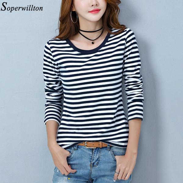 Manches longues T-shirt rayé blanc Femme de femmes noires T-shirt Coton 2019 Printemps Automne T-shirt Lady Tops Taille de base Plus