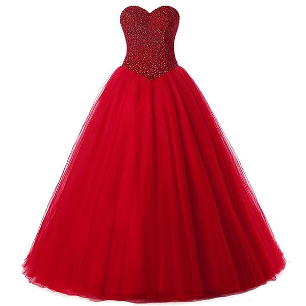 Lujo 2019 Matrimonio mujer vestido de bola rojo Vestidos de novia de novia Con cuentas Casual vestidos de novia más tamaño Vestido de noivas