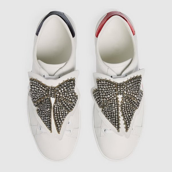 New Designer Low Top Crystal Bow Removable Men Women Casual Shoes Fashion White Leather Loved Sneakers Size 35-46