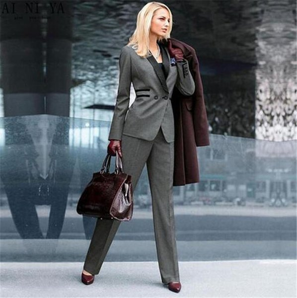 Tailored grey ladies fashion office business tuxedo jacket + trousers business trousers suit ladies formal dress