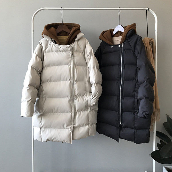 Fashion Lady Patchwork Parka Coat Winter Thicken Hooded Solid Jacket Women Outerwear Pocket Space Cotton Padded Manteau Femme