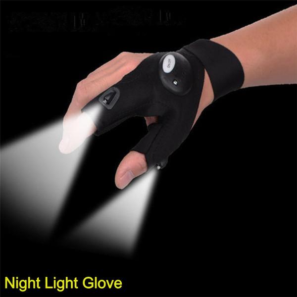 Guantes de luz nocturna con luz LED Negro Herramientas de rescate de tela impermeable para adultos Hombres Mujeres / Equipos de pesca al aire libre / Equipo de ciclismo