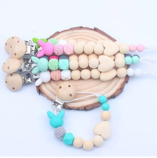Wooden Nipple Holder Clip Chain Wood Beads Love Heart Baby Girl Boy Teether Soother Pacifier Clips Leash Strap