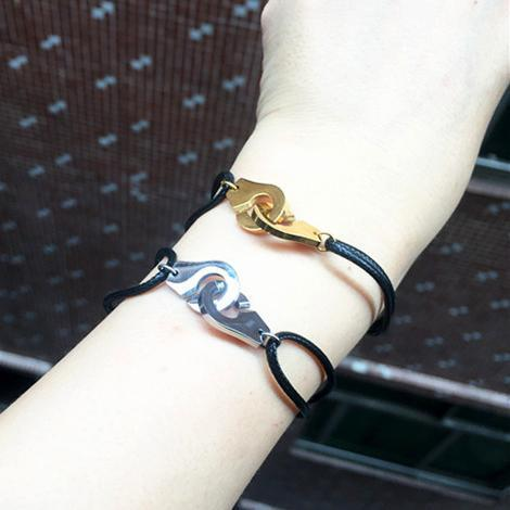 Adjustable gold handcuff bracelets top quality 316L Titanium Steel punk silver with black rope bracelet for women and men Brand Name Jewelry
