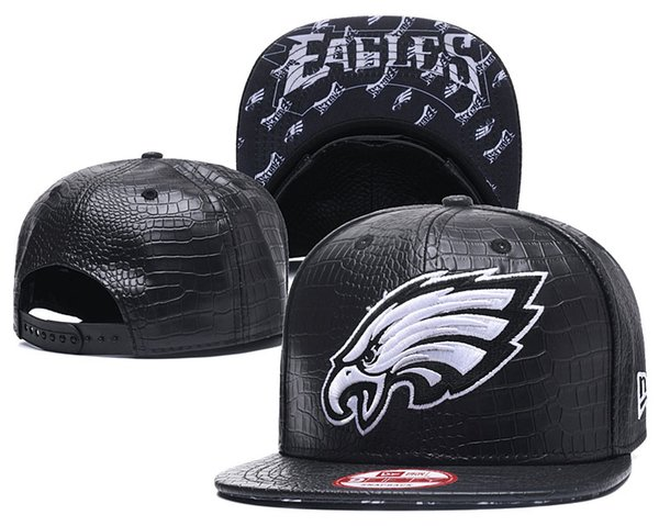 One Piece Popular Hip Hop Eagles Leather Flat Hats Team Logo Embroidered Sport Ajustable Headwear Sports Classic Snapback Caps
