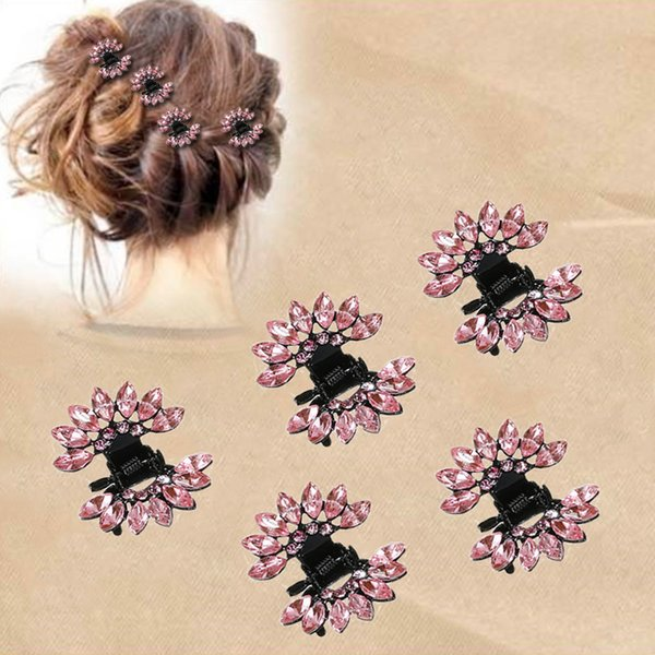 New 6 Pcs Shiny Hair Clips Wedding Jewelry Headdress For Bride Floral Hair Accessories Alloy Crab Hairpin Claw Clip Clamps
