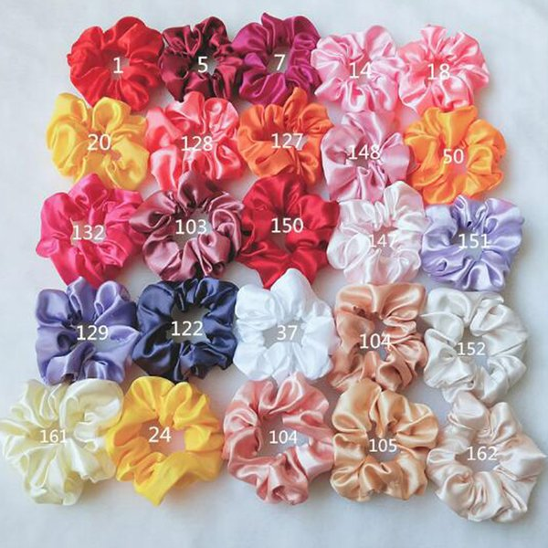 best selling 52 Colors Satin Solid Hair Scrunchies Women Elastic Hair Bands Stretchy Scrunchie Girls Headwear Silky Loop Ponytail Holder Hair Rope