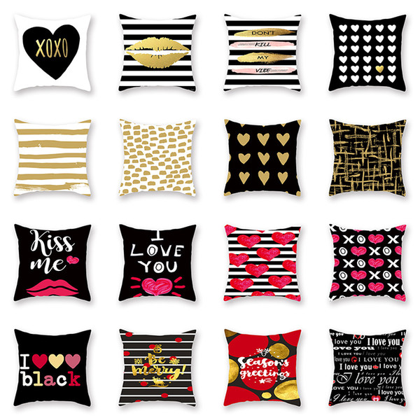 top popular Valentines Pillows Case Valentine's Day stripe Letter Love print Pillow Cover 44*44cm Sofa Nap Cushion Covers Home Decoration 56styles C5751 2021