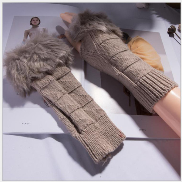 Autumn Winter Women Knitted Woolen Fingerless Gloves Thumb-hole Arm Sleeve With Faux Fur Solid Arm Cuff Thick Soft 1 Pair