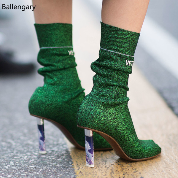 2018 Bling lentejuelas de tela verde plata más ligero tacones altos Toe Stiletto Heels zapatos mujer calle moda mujeres botines