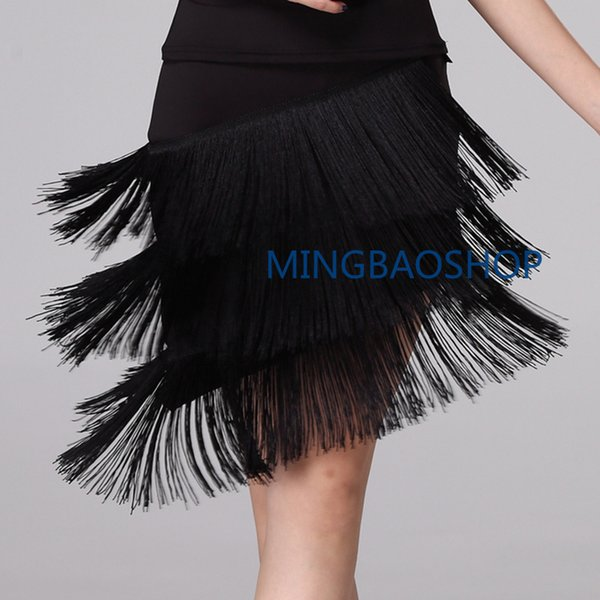 Dance Skirt Sexy Women for Girls Latin Dance Three Layer Tassel Skirt Rumba Tango Ballroom Salsa Latin Tap Dress Tensel