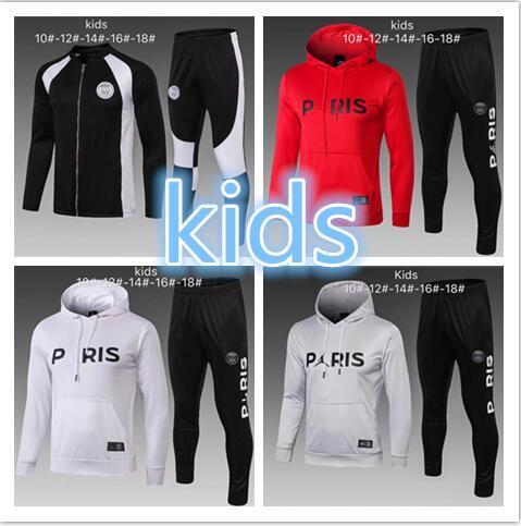 Survêtement PSG new 2019 PSG KIDS survêtement de football 18 19 MBAPPE CAVANI maillot de foot Paris à capuche enfant Sportswear veste kit