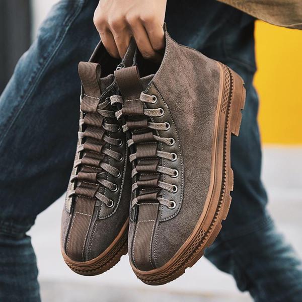 Мода SnSeakers мужчины рабочая обувь старинные ручной работы Повседневная обувь Марка высокое качество шнуровке тенденция Локомотив обувь Zapatos