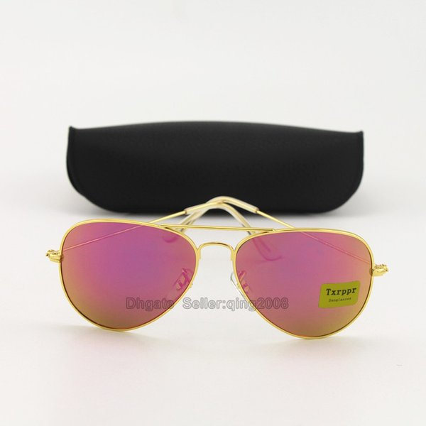 1pcs Classic High Quality Brand Designer Fashion Sunglasses For Men and Women Txrppr Gold/Purple Pilot Sun Glasses With Box and Case