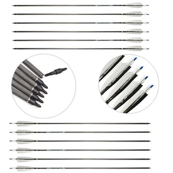 500'' Carbon Arrows Fiber for Recurve Compound Bow with Replaceable Point Tips Archery Outdoor Hunting Shooting Outdoor Sports Adults