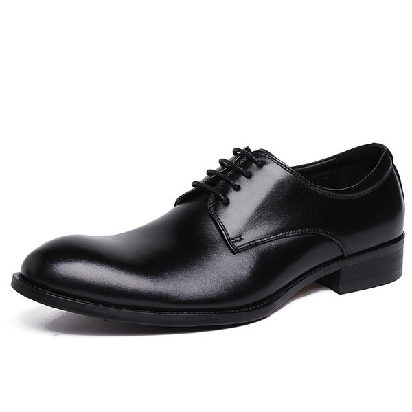 New Design Men Dress Shoes Genuine Cow Leather British Style Business Casual Shoes Male Wedding Formal Oxfords JS-A0044