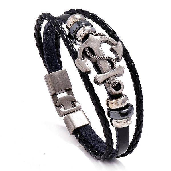 best selling Leather Alloy Anchor Bracelet Men Casual personality PU Woven Beaded Bracelet Vintage Punk Bracelet Women Fashion Jewelry Wholesale