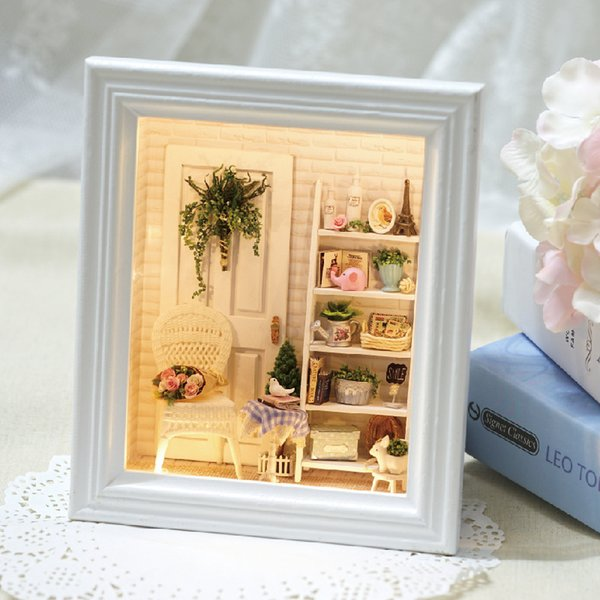 Doll House Frame Miniature With Furniture Model Building Kits Diy Wooden Dollhouse Miniaturas Toys For Children Birthday Gift Y19070503