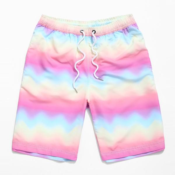 Série d'impression numérique Mens planche à séchage rapide Shorts Rainbow Gradient Baggy Hawaii Vacation Beach Pants 2019 Hot Style