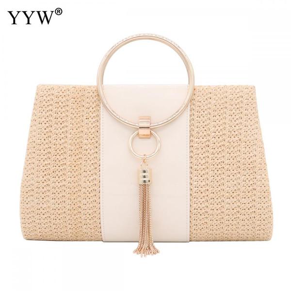 01aae66344 Summer Straw Handbag Women Evening Clutches Bag Female Gold Tassel Weave Purse  Ladies Shoulder Bags For