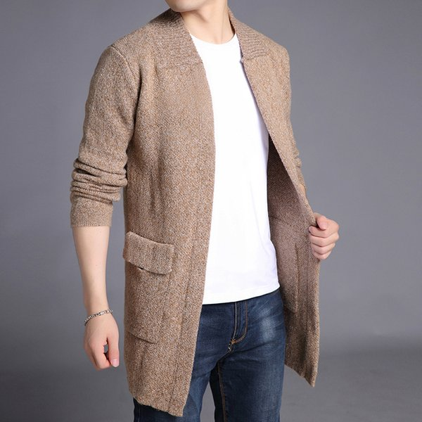 good quality 2019 Brand New Men's Jackets Sweater Coat Medium Length Pure Color Overcoat For Male Sweater Coat Outer Wear Clothing