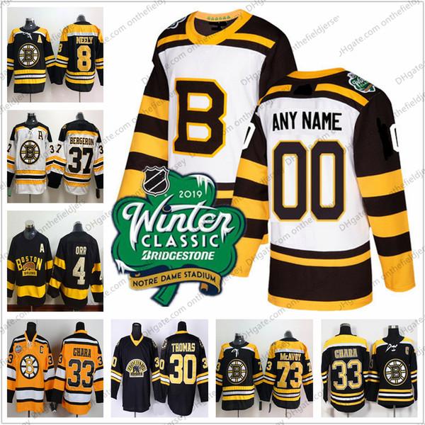 Custom Boston Bruins New & Vintage Ice Hockey Jerseys Any Name Number 2016-2019 Winter Classic White Black Third Yellow S-3XL