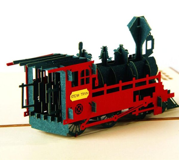 Creative 3D Retro train paper carving birthday gift card children students stereo handmade hollow blessing greeting card