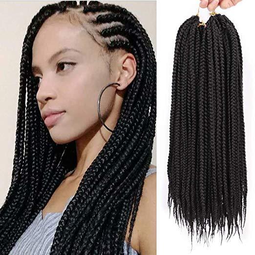 2019 18inch Crochet Box Braids Hairstyles Kanekalon Braiding Hair Extensions Synthetic Crochet Braid Hair Extensions Crochet Box For Black Women From