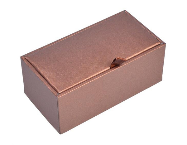200pcs/lot Quality Cufflinks Box Luxury Bright Brown Color Cuff Links Storage Boxes Jewelry Packing Display Gift Boxes Wholesale