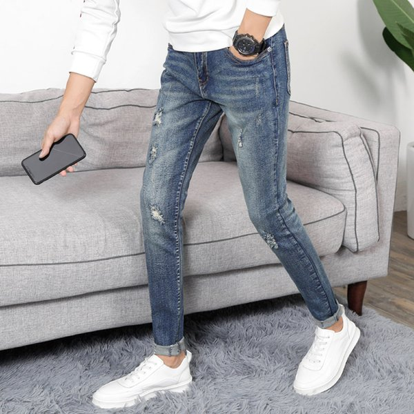 New Arrival Mens Retro Washed Jeans Trousers Slim Skinny Hole Jeans  Mens Fashion Demin