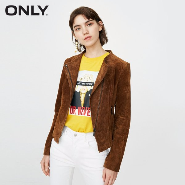 ONLY Women's Slim Fit Cinched Waist Suede Leather Jacket |118310516