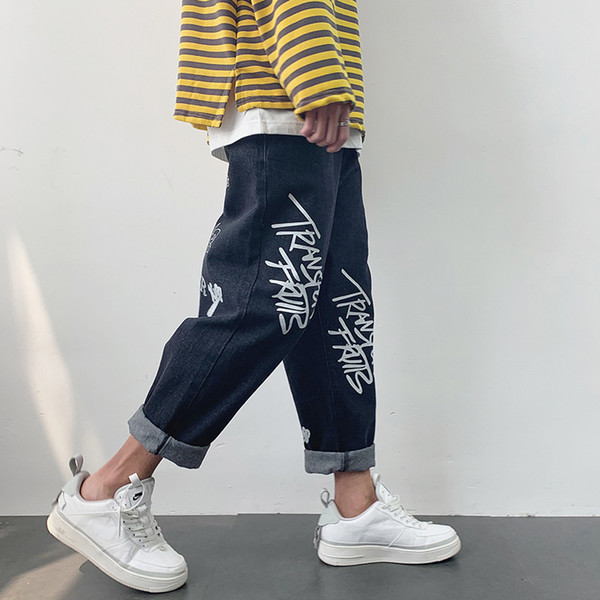 2019 Spring And Summer New Japanese Men's Solid Color Loose Harlan Straight Nine Points Casual Printing Ins Old Jeans