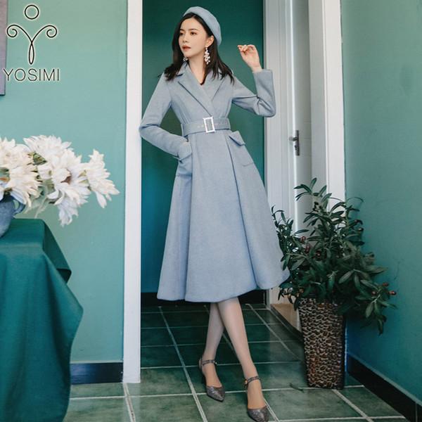 2019 Spring Wool Coat Women Maxi Elegant Woolen Midi Women Coat Turn-down Collar Full Sleeve Wool Jacket Long Blue Belt
