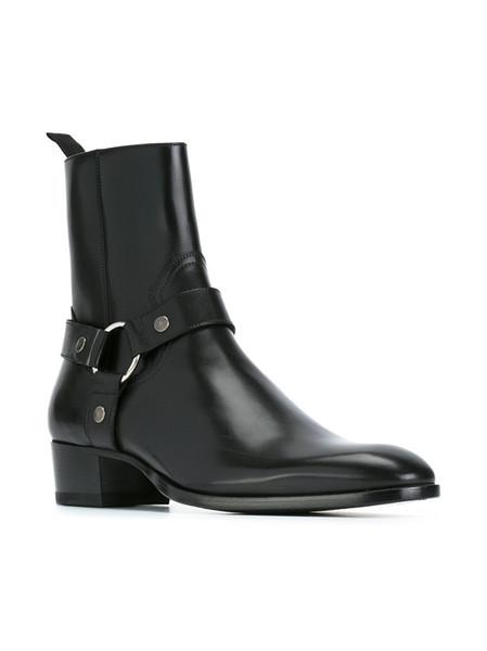 Hot Sale-Plus Size euro 38-46 Cowboy Boots Biker Shoes SLP Genuine Leather Mens Harness Booties