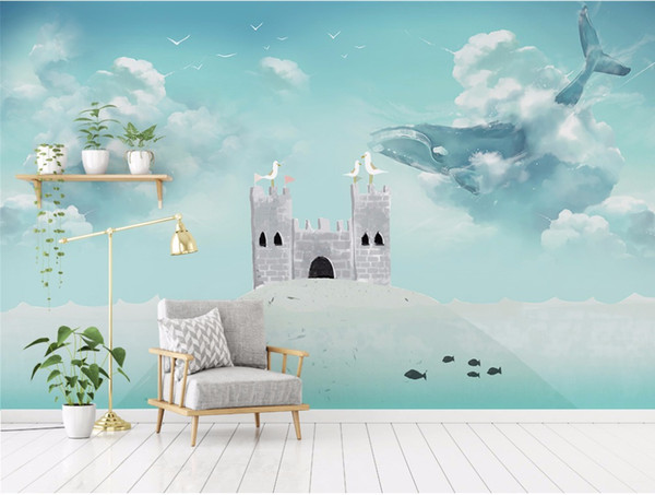 Castle For Boys Girls Bedroom Wallpaper Mural For Walls Blue Sky Whale Bird  Wall Papers Home Decor For Kids Room 3D Wallpaper Images Of Wallpapers ...