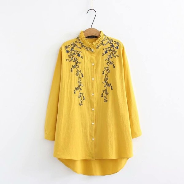 Plus Size Ruffled Collar Long Sleeve Blouses Women 2019 Embroidered White & Dark Blue & Yellow Shirt Spring & Autumn Ladies Tops J190618