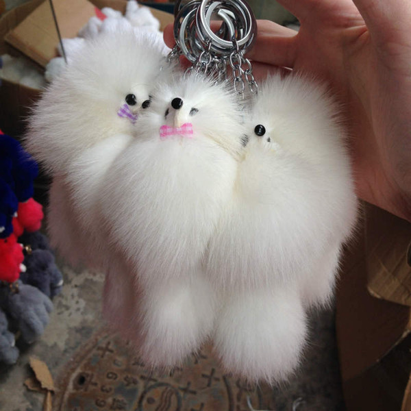 Cute Fluffy Bow-knot Fox Ball Key Chain Rings Pompom Real Fox Fur Charm Keychain Car Bag Key Ring Women Jewelry