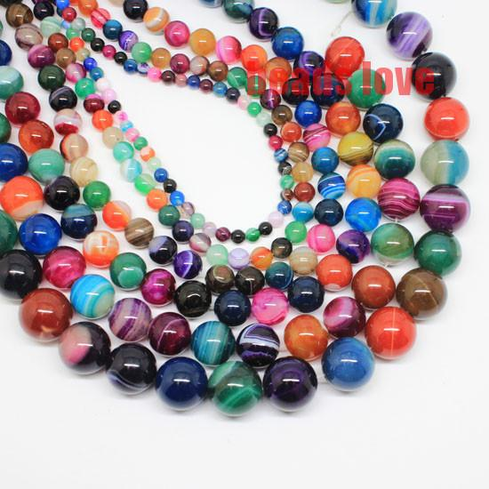for jewelry making 4 6 8 10 12 14mm Multicolor Round Smooth Striated Agates Stone Beads For Jewelry Making 15.5inches