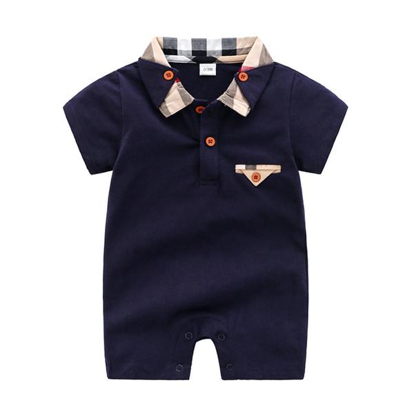 Baby Summer romper inafnt Boys plaid lapel short sleeve jumpsuits designer kids clothes 2019 New newborn Cotton Onesie Y1596