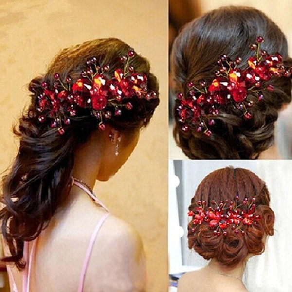 New Design Chinese Crystal Red Flower Wedding Bridal Jewelry Party Handmade Pin Hair Accessories for Women Headdress C19010501