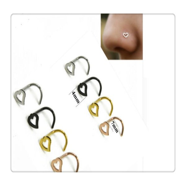 Body Jewelry Heart Nose Rings Screw Stud Ring Piercing Stainless Steel Nose Open Hoop Ring Earring Studs Free Shipping