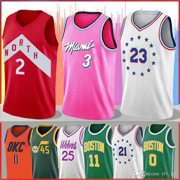 detailed look a4f8c ecaa6 2019 3 Dwyane Wade Earned Edition Jerseys 2 Kawhi Leonard 23 Jimmy Butler  25 Derrick Rose Jersey Mitchell Irving 0 Russell Westbrook Tatum From ...