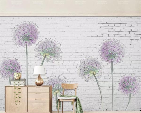 Custom Made Wall Papers Home Decor Modern White Brick Wall Purple Dandelion Sofa Background Wall Wallpaper 3d Free Desktop Wallpaper Widescreen Free