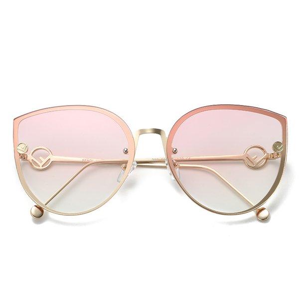 Retro cat eye sunglasses big box sunglasses female metal ocean piece mirror legs hollow new
