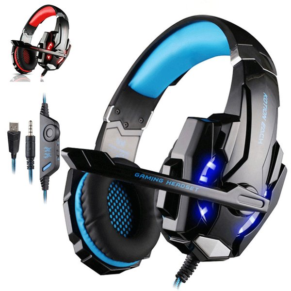 KOTION G9000 Stereo Gaming Headset LED Light Earphone Noise Cancelling Headphones With Mic Compatible Mac PS PC Xbox One Controller
